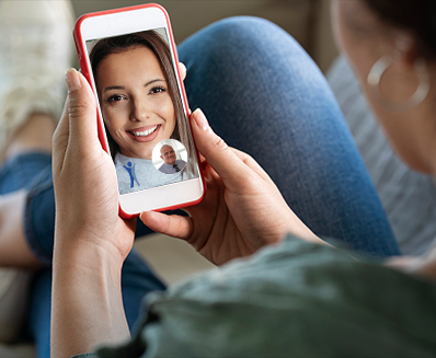 Woman on virtual call with doctor